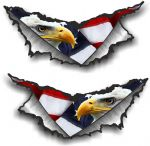 SMALL Pair Triangular Ripped Torn Metal Rip & USA Eagle & US Flag Vinyl Car Sticker 75x35mm Each